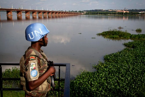 MINUSMA Peacekeeper Patrols Site of Mixed Commission Meeting, Bamako