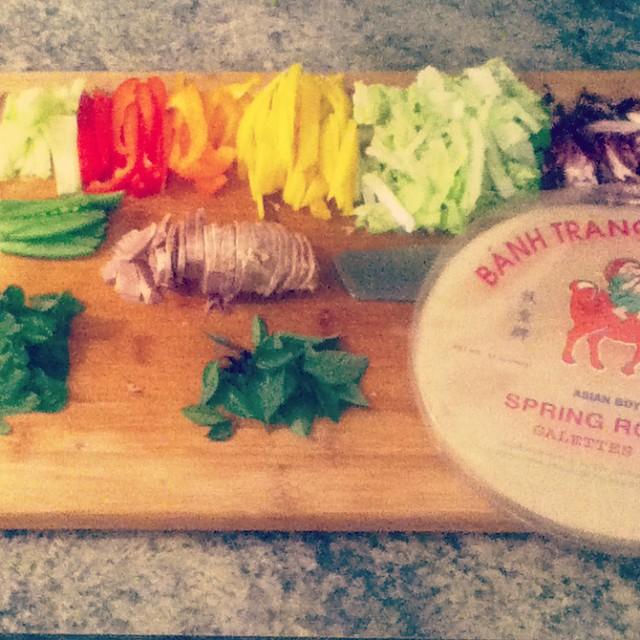 food rainbow - making vietnamese rolls