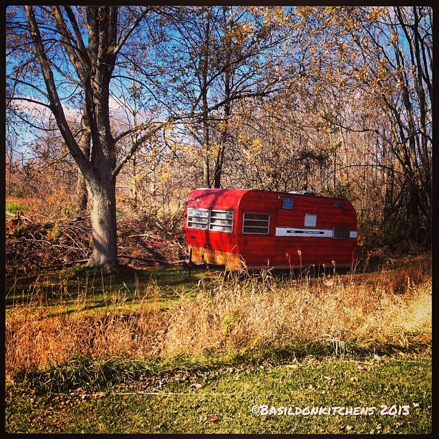Nov 3 - camping {my neighbor's camper parked in the back of his yard} I've never seen it anywhere else! #photoaday #camping #red #camper #storage #princeedwardcounty