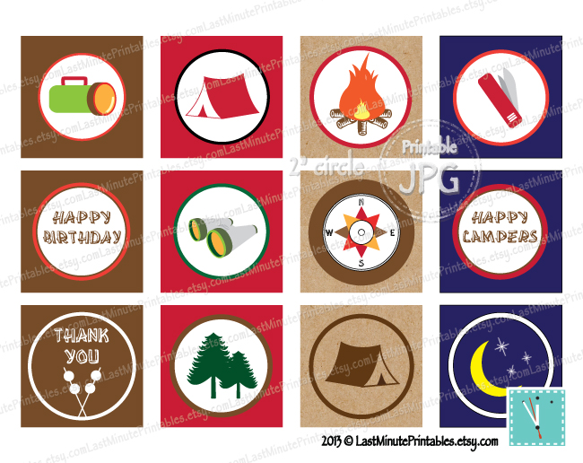 image relating to Printable Bottlecap Images named Campout Get together Sticker 2 circles with Campout, Tenting