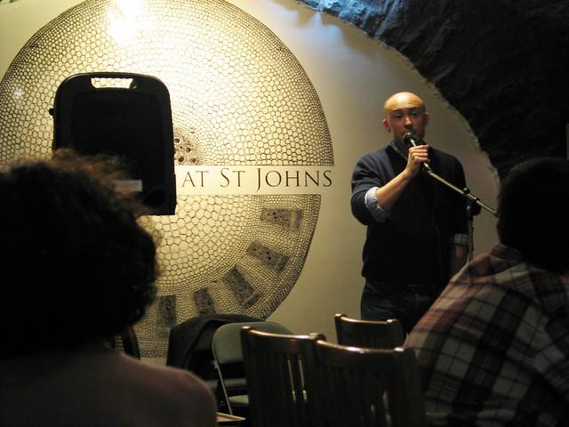 New poet Graeme Hawley at Shore Poets October