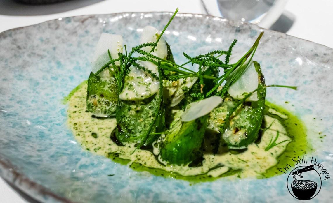 Cucumbers, holy flax, sauce of burnet Attica