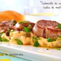 Solomillo de cerdo con salsa de mostaza
