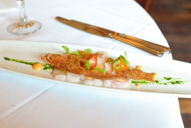 lemonfish cru tomato, basil, local pepper