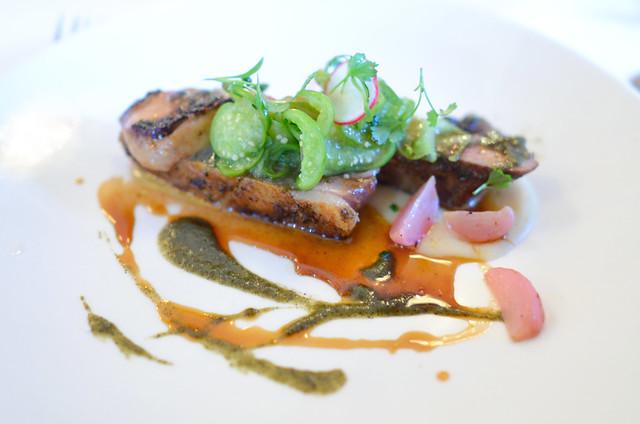 roasted duckling tomatillo, hominy, blackened foie gras