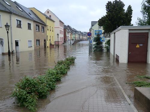 Hochwasser Waldheim/Niederstadt in Sachsen am 3. Juni 2013 (Foto: Maja Dumat, Flickr.com CC-by-2.0)