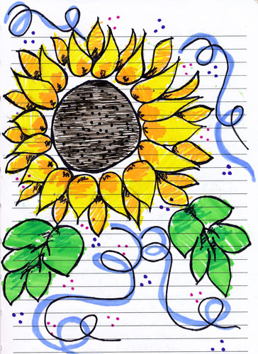 sunflower drawing from my journal