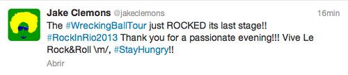 Tuit Jake Clemons fin de la gira