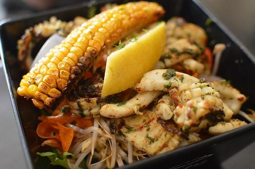 Grilled calamari with salad greens