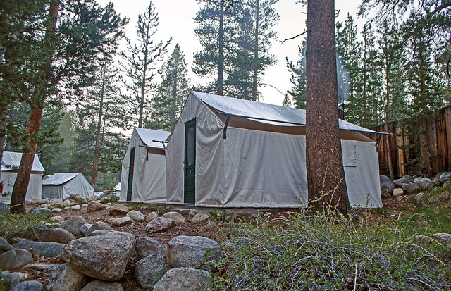 These cabins behind the main lodge building are just steps from the Dana Fork Tuolumne River.