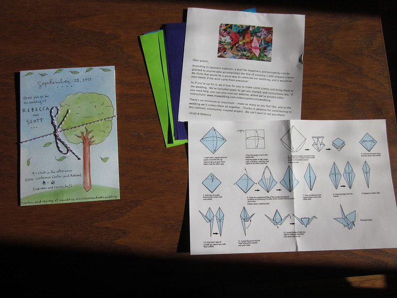 Invitation with origami instructions
