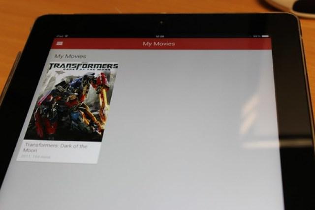 Google Play Movies and TV on an iPad