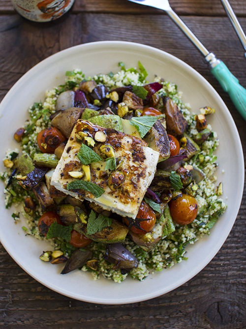 roasted veggie salad with tabbouleh