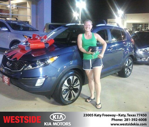 Thank you to Juliet Wheeler on the 2013 Kia Sportage from Gil Guzman and everyone at Westside Kia! by Westside KIA