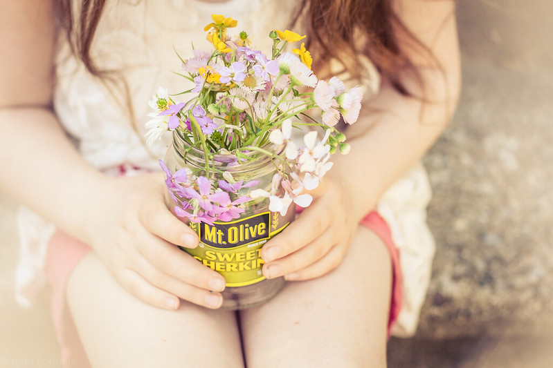 Wildflowers in a pickle jar