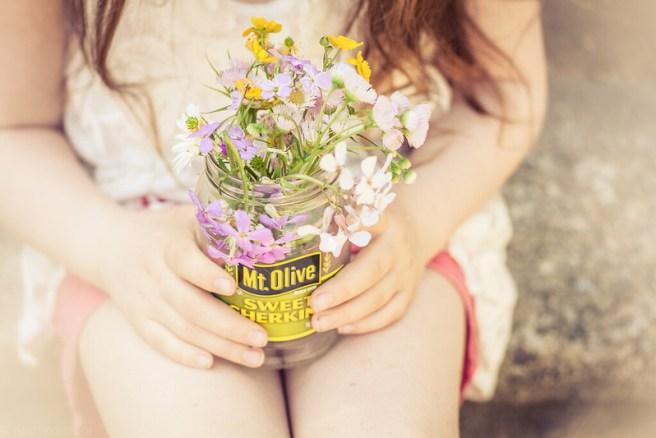 Wildflowers in a pickle jar