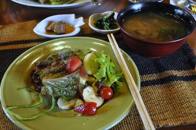 Chaya fruit salad and miso soup
