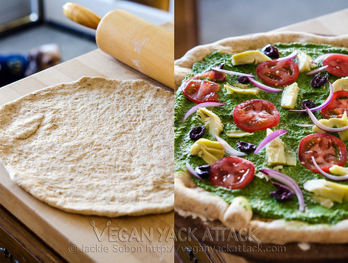 Mediterranean Pesto Pizza: with fresh ingredients, and delicious homemade pizza crust it's definitely a crowd pleaser!