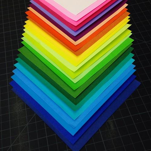 Colourful origami paper