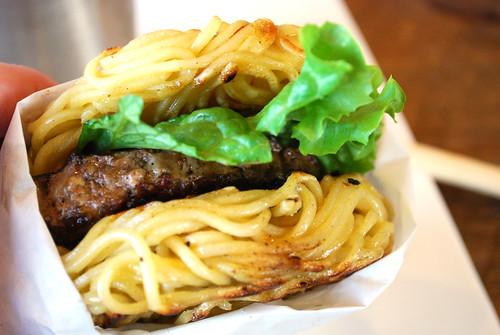 Ramen Burger in hand