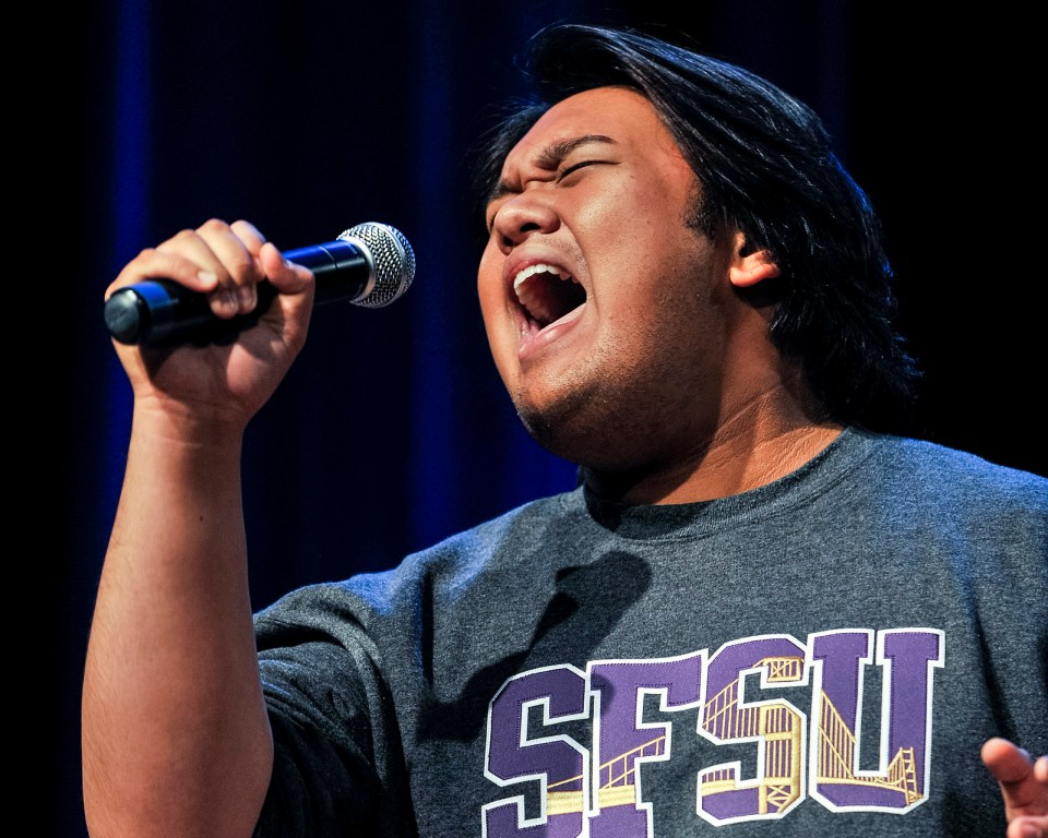 Kai Santiago giving it his all during his audition for the SF State's Voice singing competition in Jack Adams Hall in the Cesar Chavez Student Center on Wednesday, Oct. 2, 2013. Photo by Benjamin Kamps / Xpress