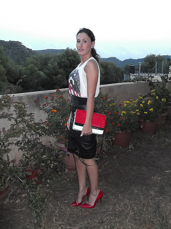 Piel, falda lápiz negra, camiseta, stilettos rojos, bolso tricolor, skin, black pencil skirt, t-shirt, red stilettos, tricolour bag