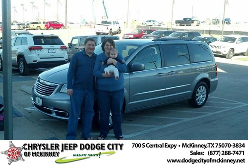 Thank you to Janet & Jasom Snyder on your new 2014 #Chrysler #Town & Country from Bobby Crosby and everyone at Dodge City of McKinney! #NewCarSmell by Dodge City McKinney Texas