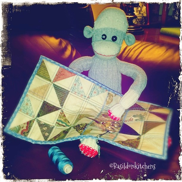 Sep 4 - very strange {I think it is very strange that Mr Sock Monkey wants try his hand at hand quilting} #photoaday #sockmonkey #fun #games #quilting