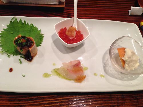 Ankimo w/ Ponzu Gelee, Hokkaido Ikura w/ Grated Daikon, Persimmon w/ Whipped Tofu, Shima Aji w/ Bonito Gelee & Shiso Pesto