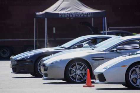 Aston Martins and a Lamborghini