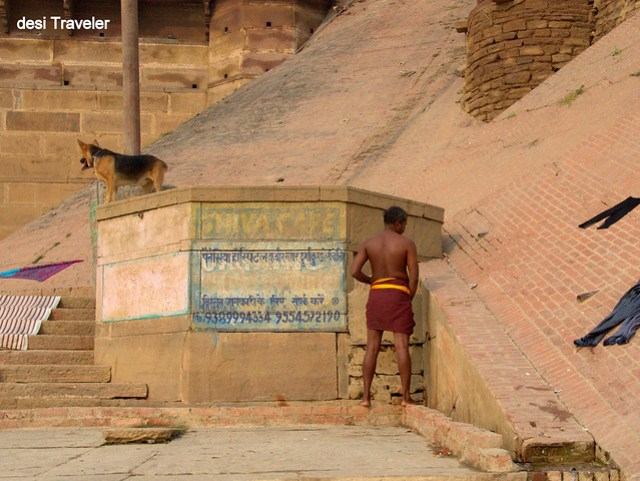 urinating on benaras ghats varanasi ghats