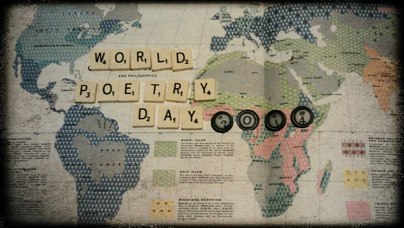 Image of map with scrabble letters spelling World Poetry Day