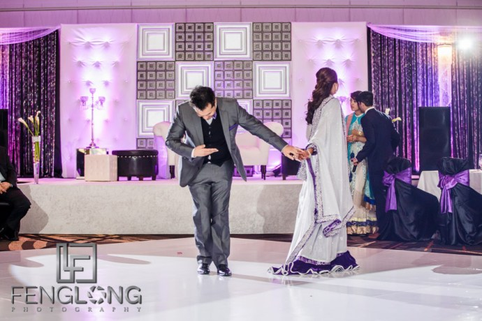 Bride and groom first dance during their Atlanta Ismaili Indian wedding