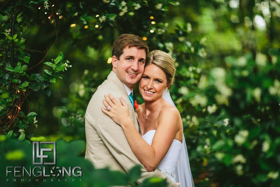 Romantic bride and groom portrait after wedding ceremony