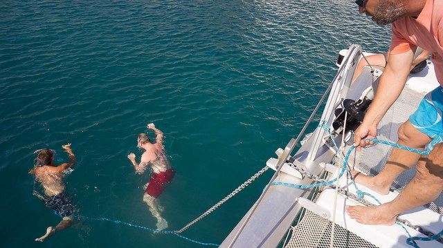 Jacob and Dave working to free the fouled anchor lines - in Mykonos