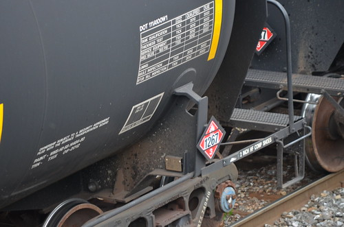 DOT111 rail car with crude oil placard