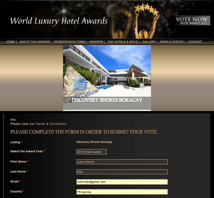 World Luxury Hotel Registration!