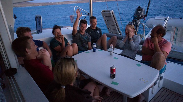 Playing Werewolf anchored in a bay off Rineia