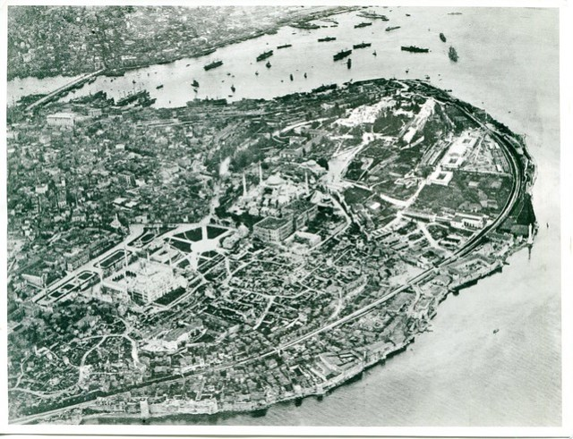This magnificent aerial shot of Istnabul, probably taken in the 1930s, provides invaluable information about the urban topography of the city before much modern building work, as well as minute details, such as the ships at anchor in the Bosphorus, some of which can be identified if examined closely. David Talbot-Rice Archive 19042712414, courtesy of the Barber Institute of Fine Arts, made available digitally by the Birmingham East Mediterranean Archive.