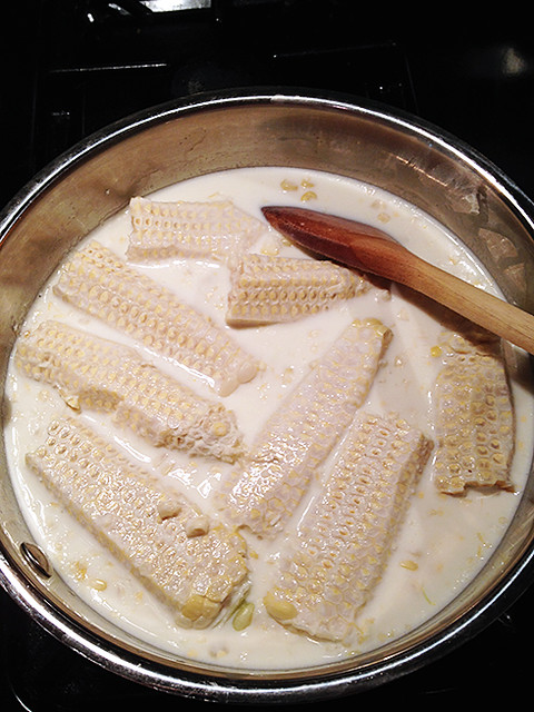 Infusing cream and milk with corn kernals and cobs