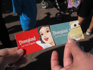 Our Disneyland park tickets. Mine has Snow White on it and Dan's has a car on it.