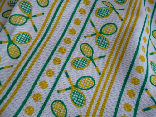Retro Tennis Yellow & Green Fabric