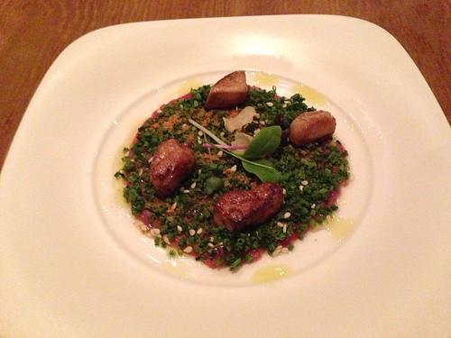 Beef tenderloin carpaccio and foie gras with herbs