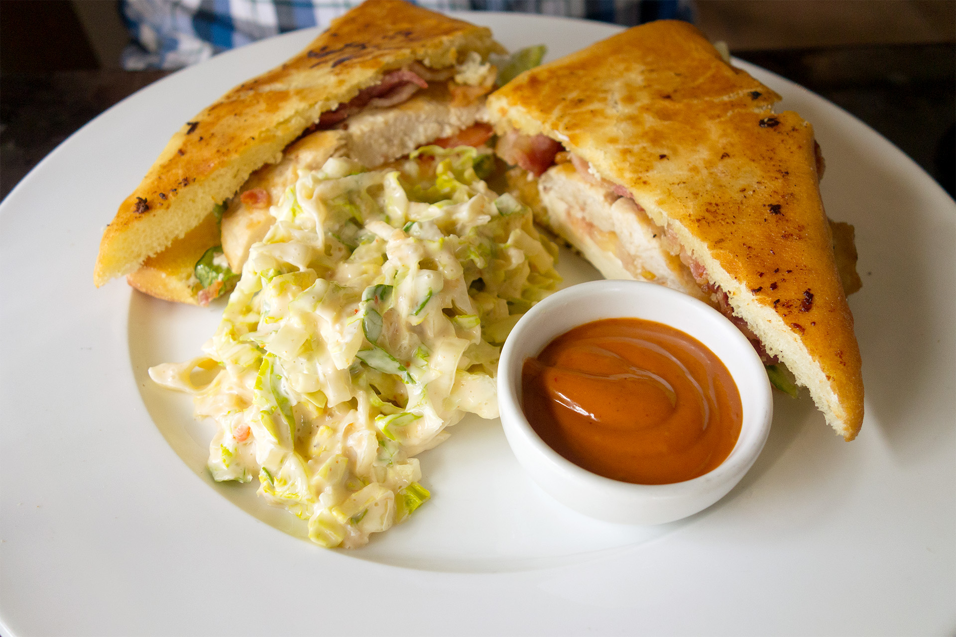 Chicken sandwich and the famous coleslaw.
