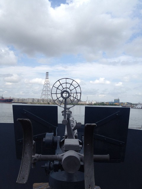 view from guns on battleship texas
