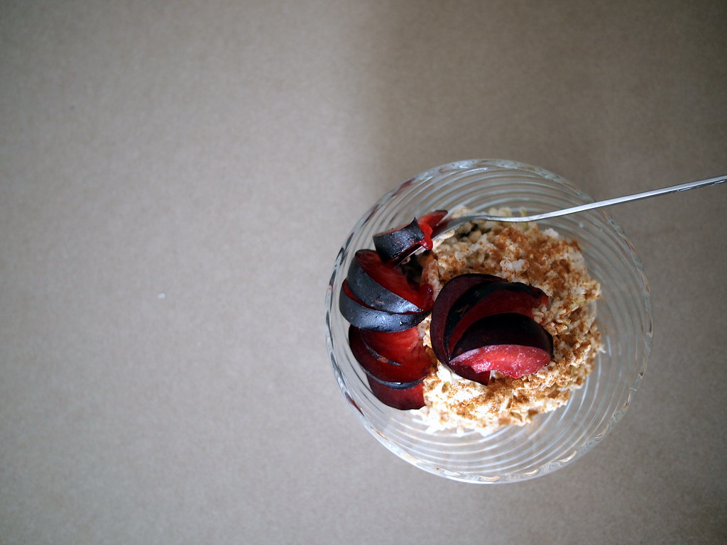 Pear bircher muesli with plum and cinnamon