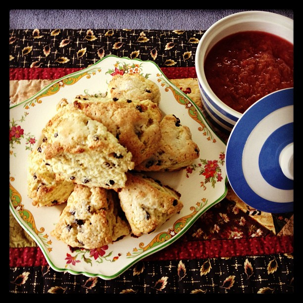 June 22 - enjoying life {freshly made currant scones & rhubarb sauce made from my own rhubarb harvested this morning} mmmmm #fmsphotoaday #scones #rhubarb #cooking #baking #bounty #harvest #garden