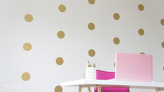 Beauty Room Progress – Gold Polka Dots Accent Wall