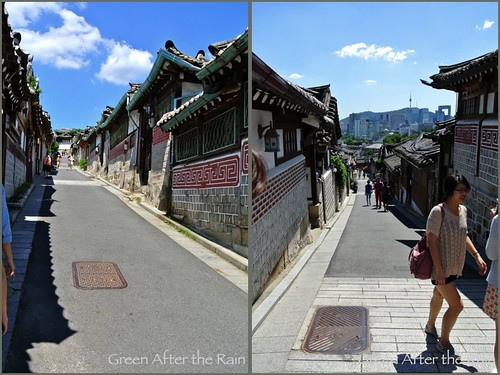 Bukchon Seoul South Korea Left: The 5th spot from the bottom of the hill. Right:The 6th spot from the top of the hill.