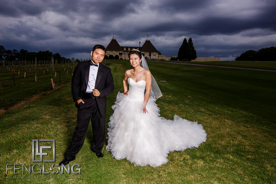 Chinese bride and groom portraits in the vineyard at Chateau Elan
